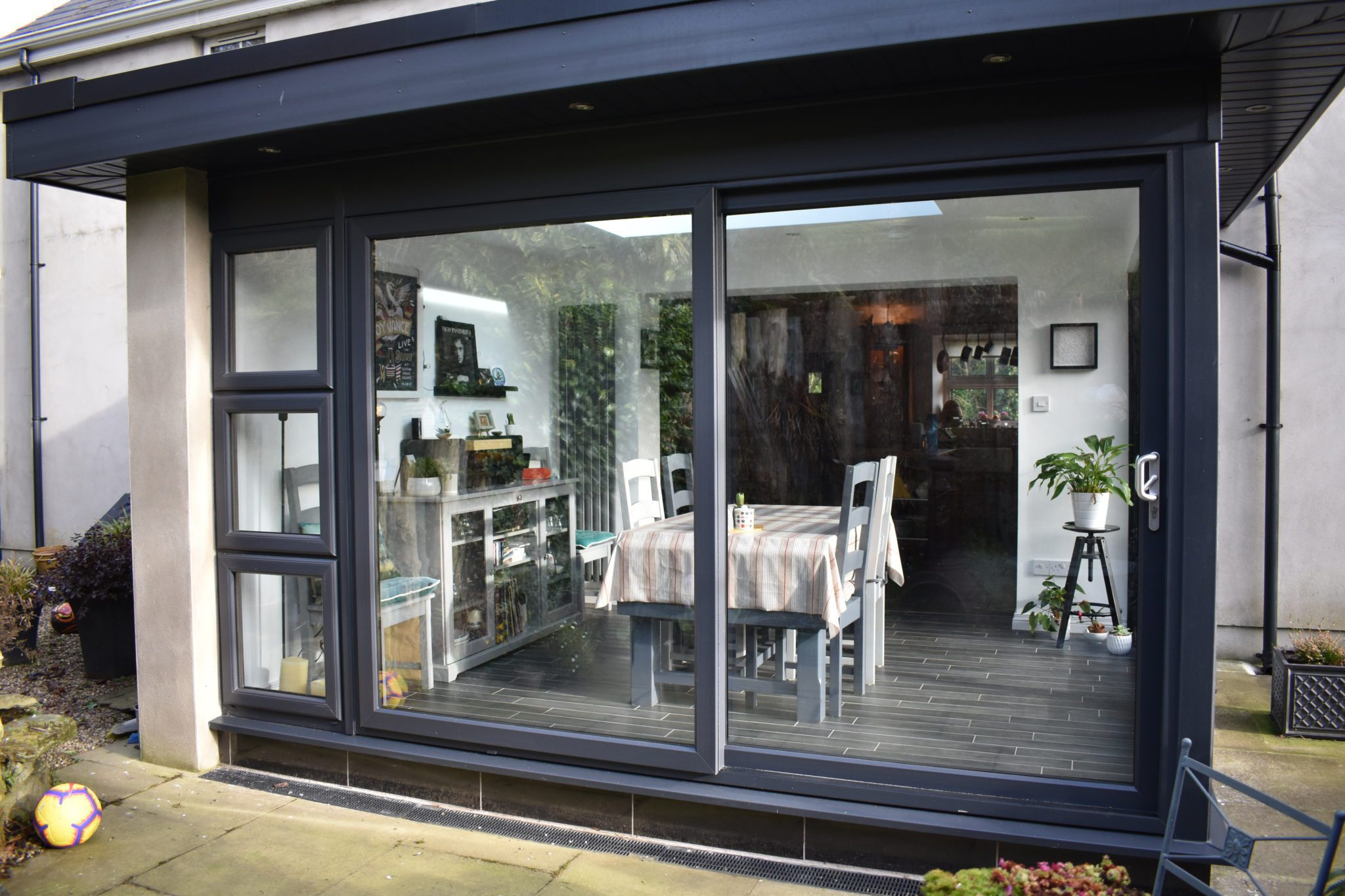 grey sunroom pod sliding doors