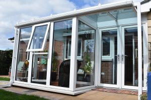 Glass Lean To Conservatory White PVC Door