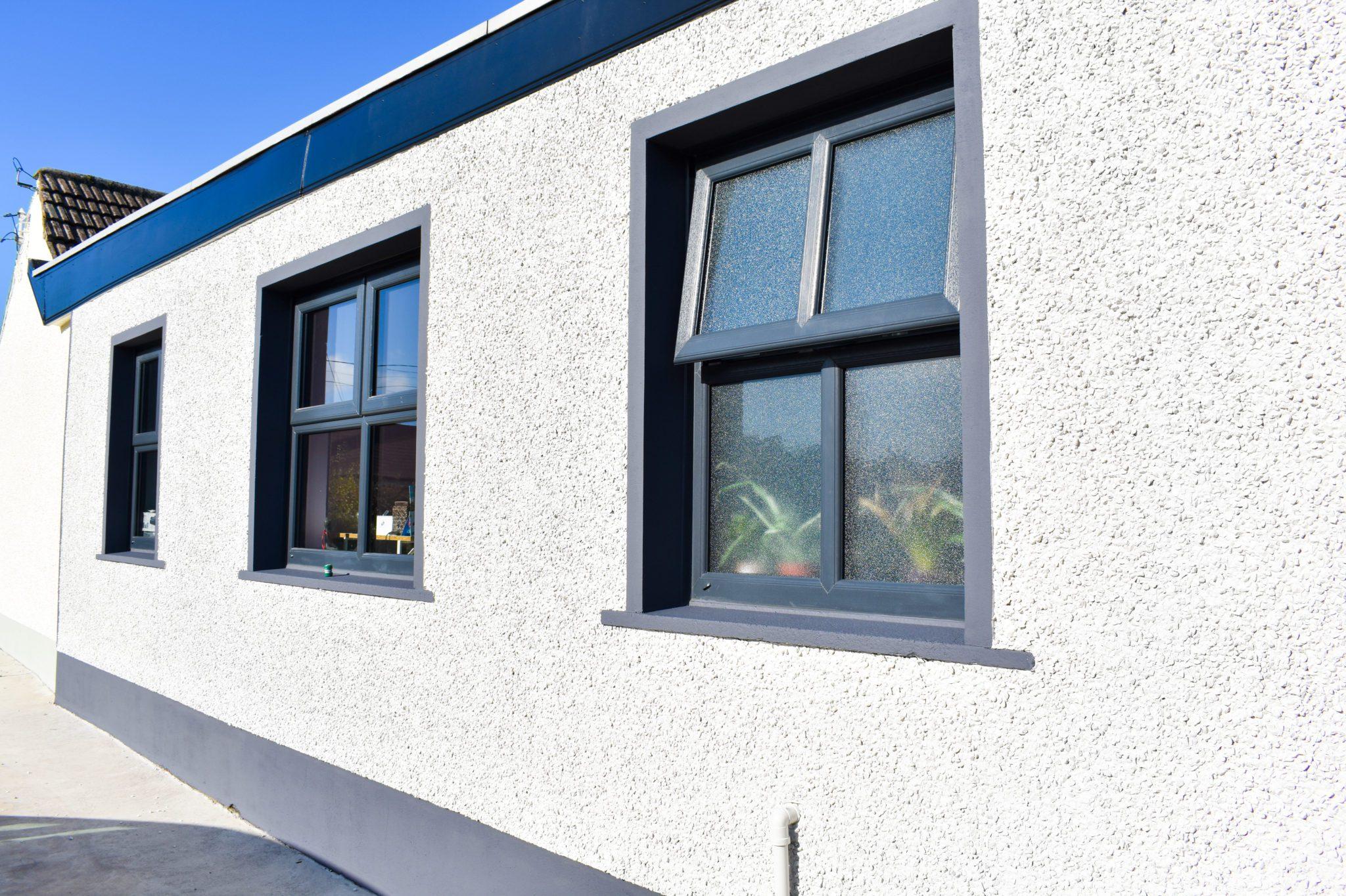 Grey uPVC casement windows