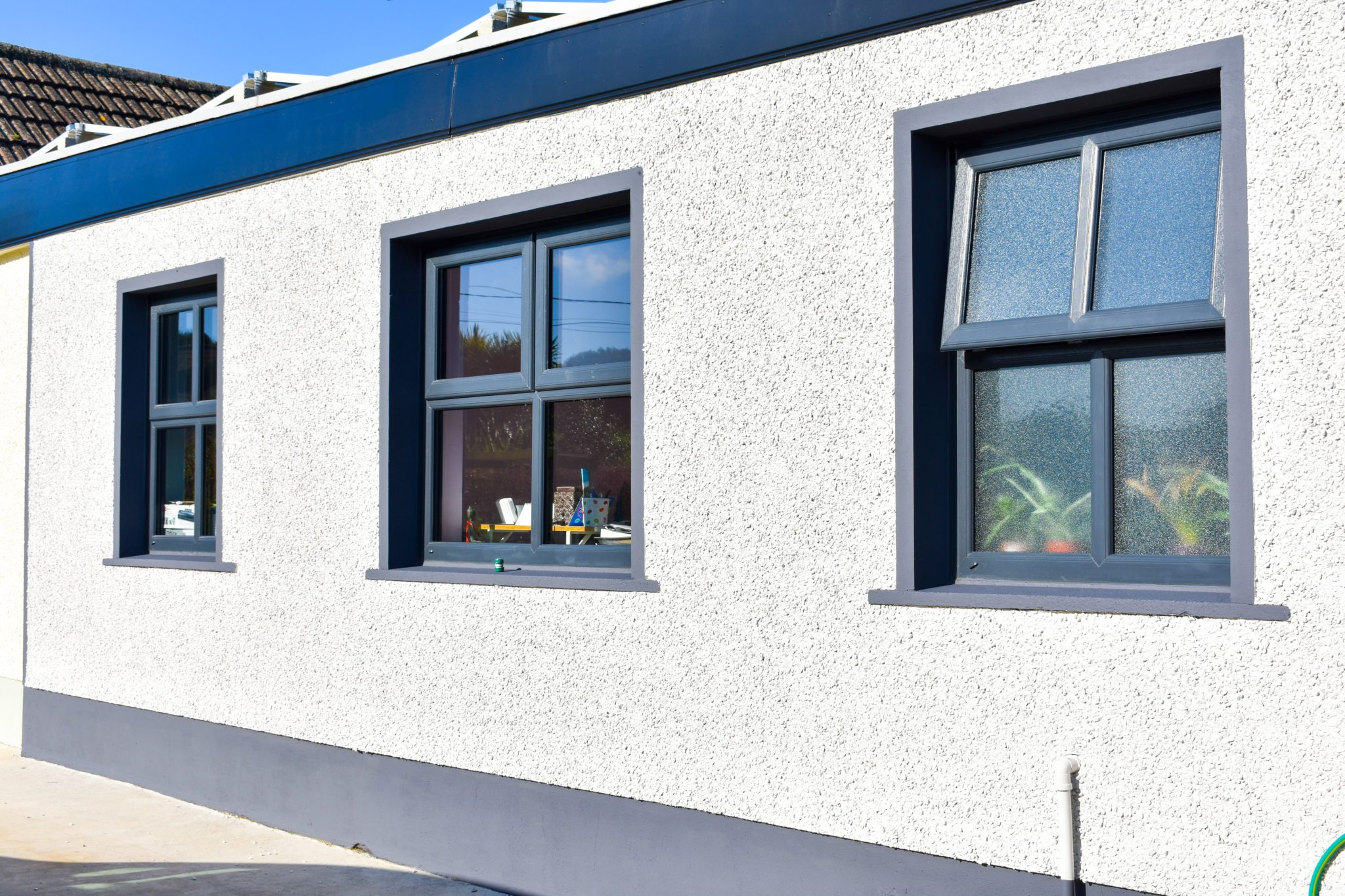 Anthracite grey upvc windows installation