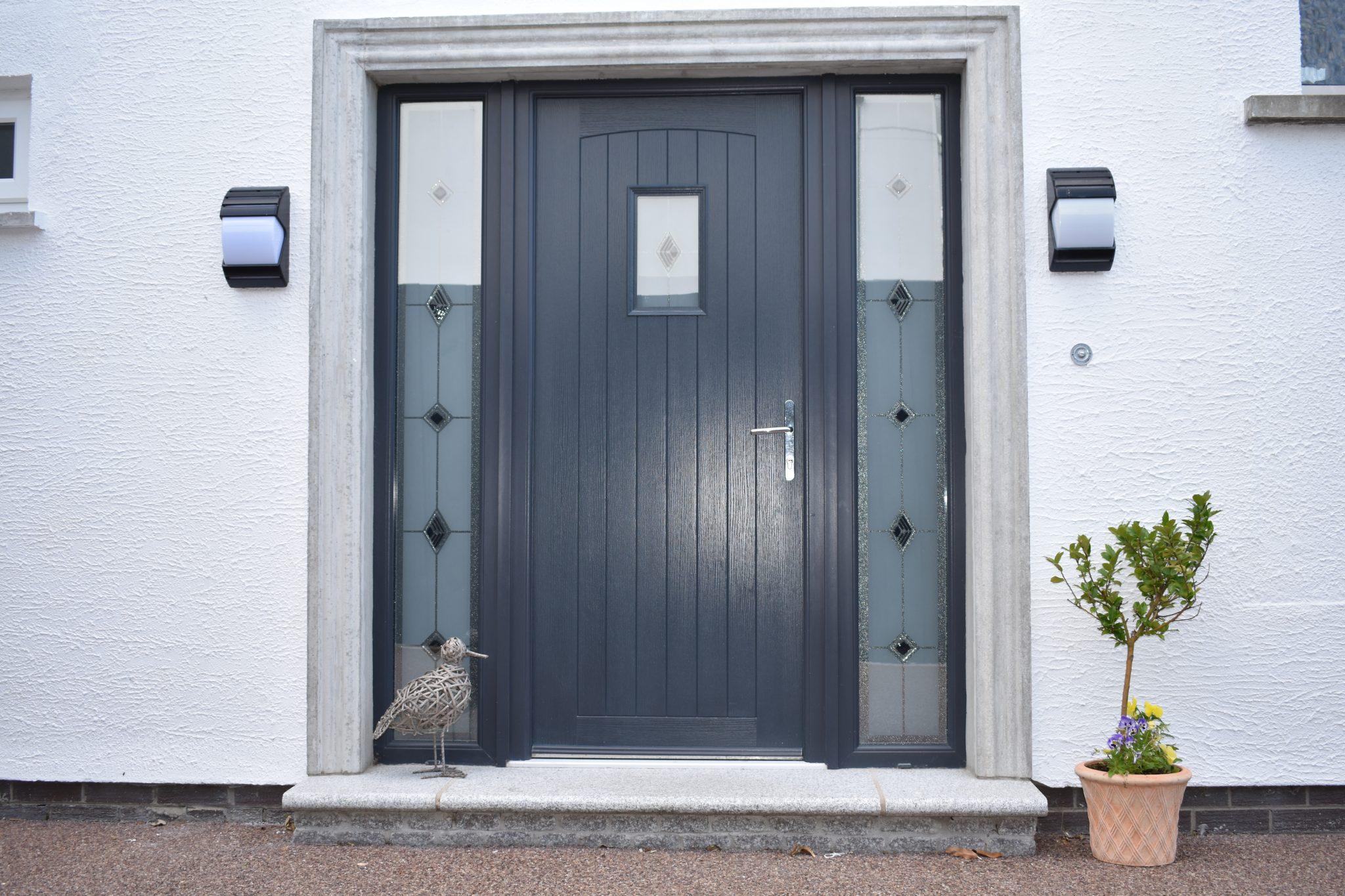 Grey modern composite door